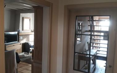massieve eiken deur met glaskader